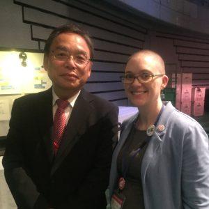 Thompson with Zenroren President Yoshikazu Odagawa