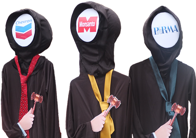 Three hooded judges with Chevron, Monsanto and Pharma corporate logos instead of faces